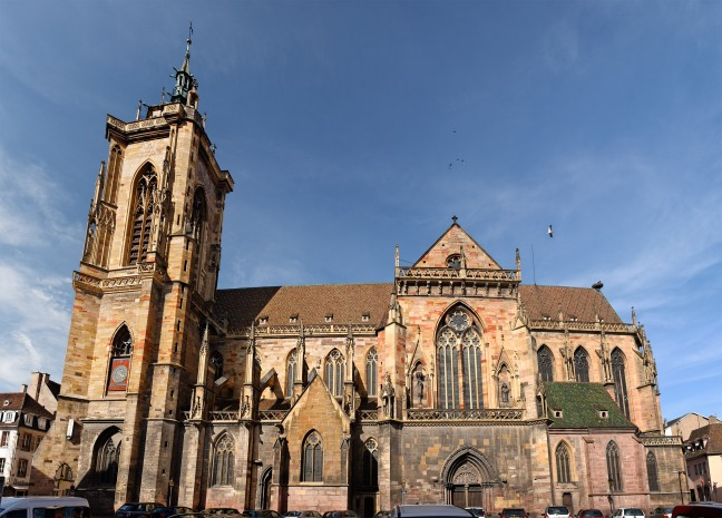 Panorama of the Saint Martin Gothic church in Colmar