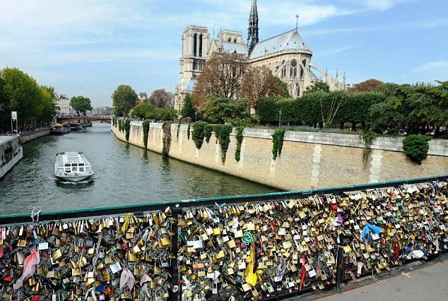 Padlocks on the Pont de l'Archeveche, Paris, France - 24 Sep 2011